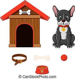 set of dog accessories - illustration of set of dog...