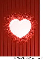 Vector floral red heart frame