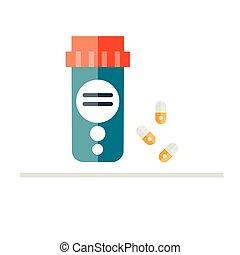 Pill bottle vector illustration. Medicine bottle in flat...