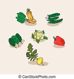 Hand-drawn collection of icons vegetables.