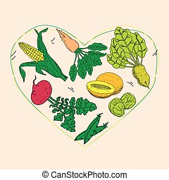 Vegetable and fruit food health care heart shape template...