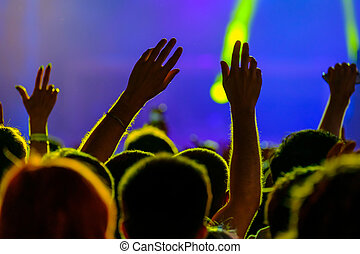 Fans cheering at open air live concert - Fans cheering at...