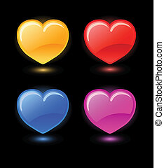 Set of vector hearts on black backg