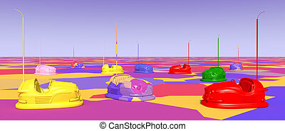 Bumper cars - Computer generated 3D illustration with bumper...