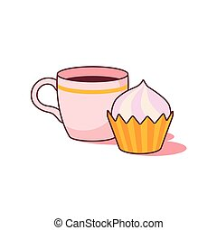 Cup of coffee and cake on white background vector.