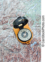 Compass on the map. Magnetic compass in the expanded form is...