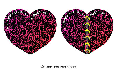 Vector floral hearts - Vector floral decorative hearts