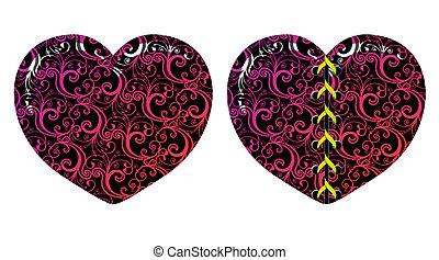 Vector floral hearts - Vector floral decorative hearts