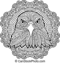 Coloring page for adults. Stern eagle on a background of a...