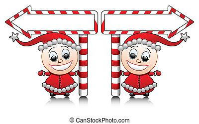Vector cute Santa helpers with arro