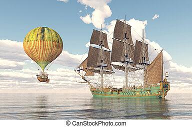 Fantasy hot air balloon and sailing ship - Computer...