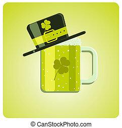 Vector cartoon green beer and hat