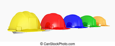 Hard hats - Computer generated 3D illustration with hard...