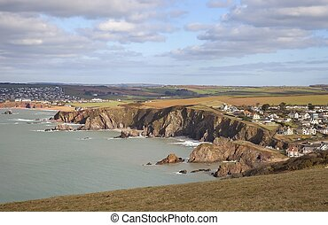 View from Bolt Tail towards Hope Cove, Devon, England