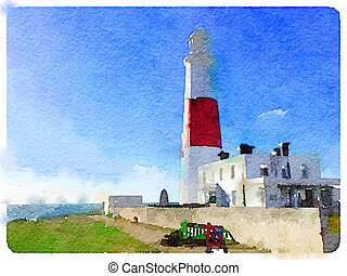DW Portland Bill - Digital watercolor painting of the...