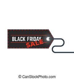 Black friday sale label with thread vector illustration.