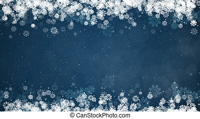 Christmas Frame on Blue Background. Abstract Winter Card with Glowing Snowflakes, Stars and Snow.