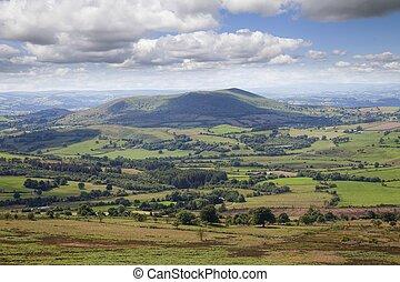 View over Shropshire farmland, Stiperstones, England