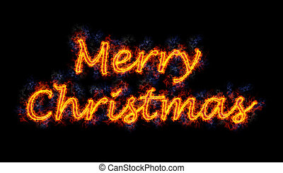 Fiery text \'Merry Christmas\'.