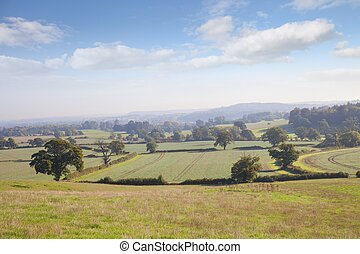 View over Warwickshire countryside, England