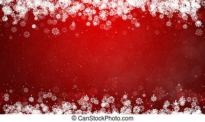 Christmas Frame on Red Background. Abstract Winter Card with Glowing Snowflakes, Stars and Snow.