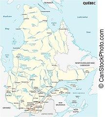 quebec road map - quebec road vector map