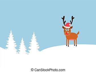 red nose deer - vector red nose reindeer