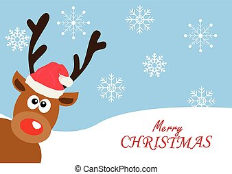 red nose deer Christmas - vector red nose deer Christmas...