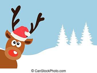 red nose deer - vector funny red nose deer