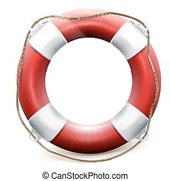 Red life buoy on white background. EPS 10 vector file...