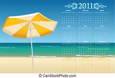 Vector calendar 2011 with tropic be