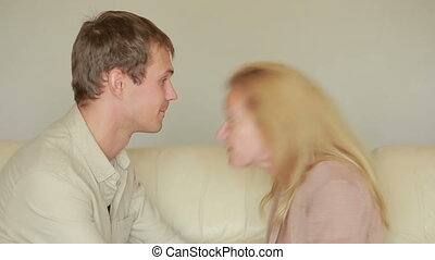 male and female fighting. family quarrel. domestic violence....