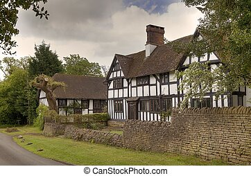 Warwickshire house - Timber-framed, black and white house at...