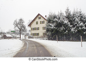 Campaign snowy Baden Wurttemberg and whitewashed street in...
