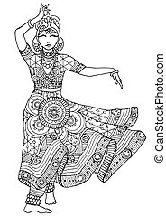 Indian dancer in a patterned dress - Coloring with an Indian...