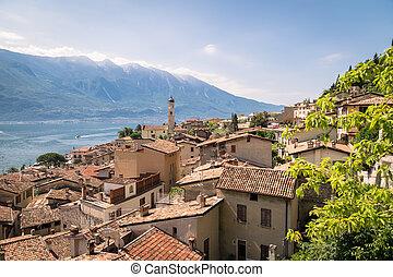 Panorama of Limone sul Garda, lake Garda, Italy. - Panorama...