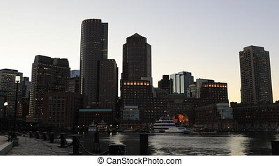 Timelapse at dusk of the Boston city center