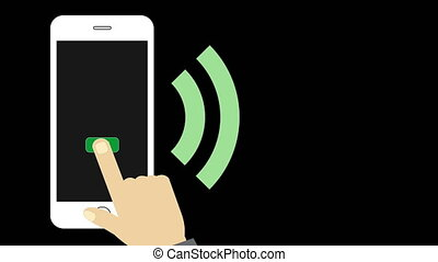 Smartphone and hand sending wireless message via wi-fi...