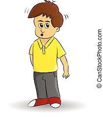cartoon boy suspicious - cartoon young boy skeptical Look on...