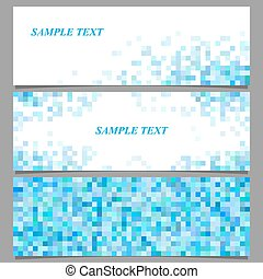 Abstract pixel square mosaic banner template set
