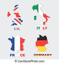 Germany, Italy, France, UK colorful maps and flags - Germany...