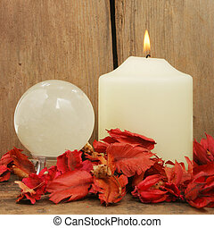 Candle pot-pouri and crystal ball - Candle pot-pouri and a...