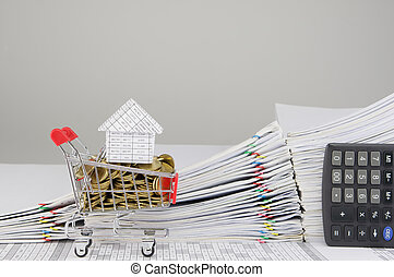 House on shopping cart and gold coins with calculator