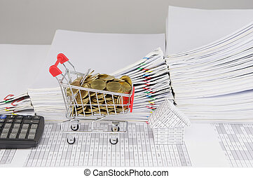 Shopping cart with gold coins and house with calculator