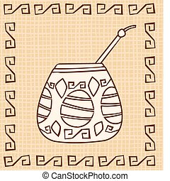 Vector Calabash with Bombilla, tribal style, canvas...