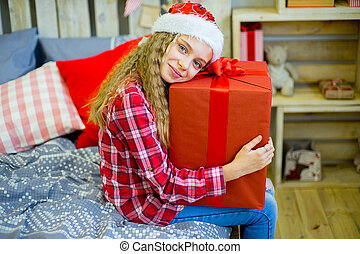 happy child girl with Christmas gifts - happy child girl...