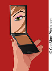 Vector girl with mirror - Vector illustration of girl with...