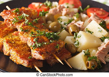 Spanish Pork Kabobs - Pinchos Morunos and Potatoes salad...