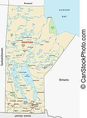 manitoba road map - manitoba road vector map