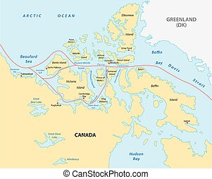 northwest passage map - northwest passage vector map